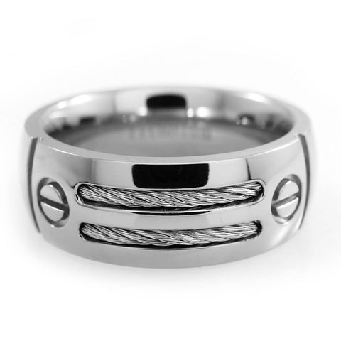 99379e0ad2f Stainless Steel Cable Inlay Titanium Ring