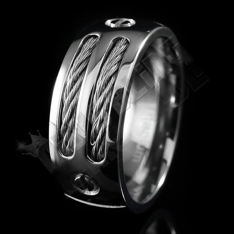 Affordable Stainless Steel Cable Inlay Titanium Ring - Black Background