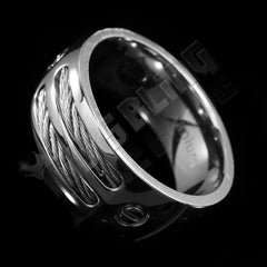Stainless Steel Cable Inlay Titanium Ring