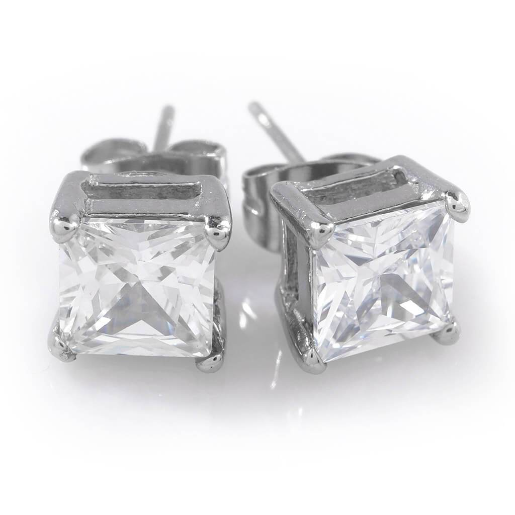 Affordable Stainless Steel Square Stud Hip Hop Earrings - White Background