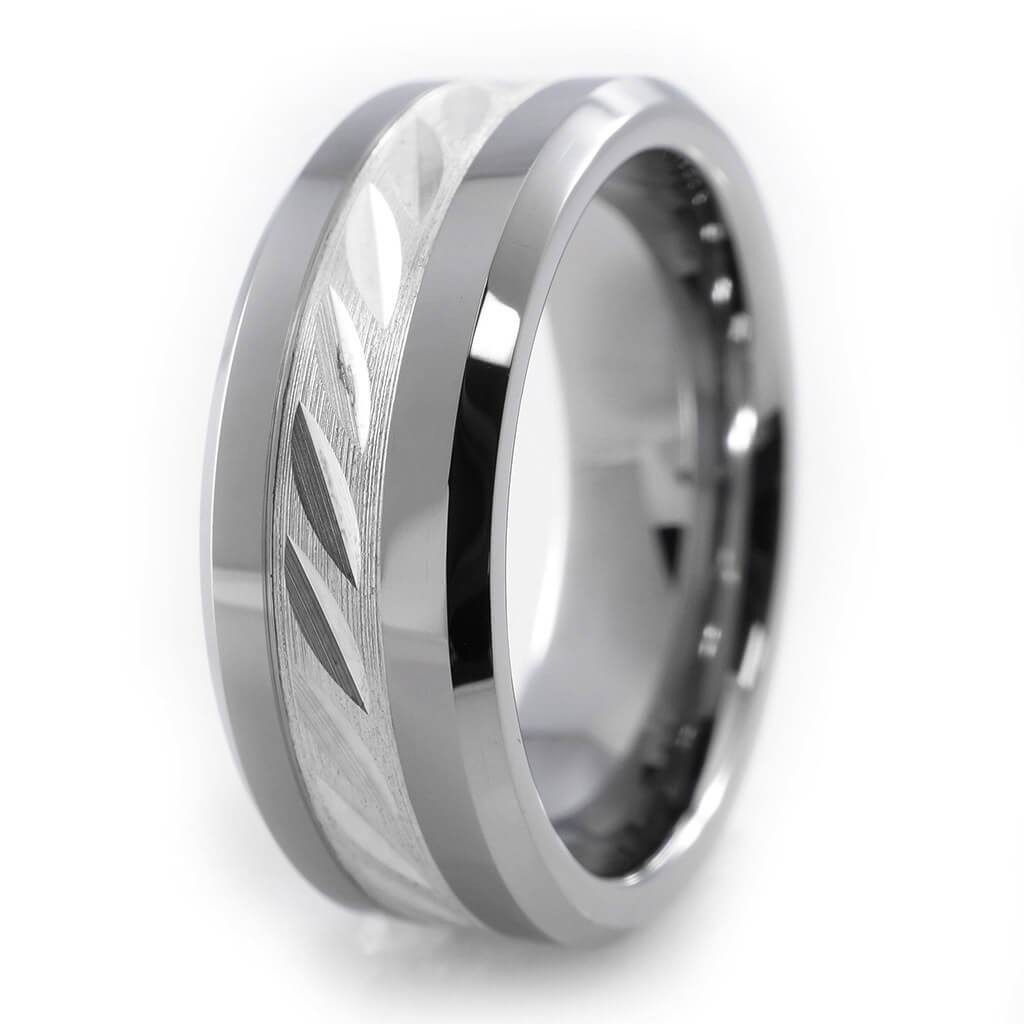 Affordable Sterling Silver Inlay Tungsten Carbide Ring 8MM - White Background