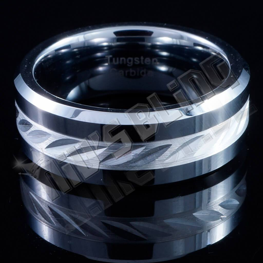Affordable Sterling Silver Inlay Tungsten Carbide Ring 8MM - Front View