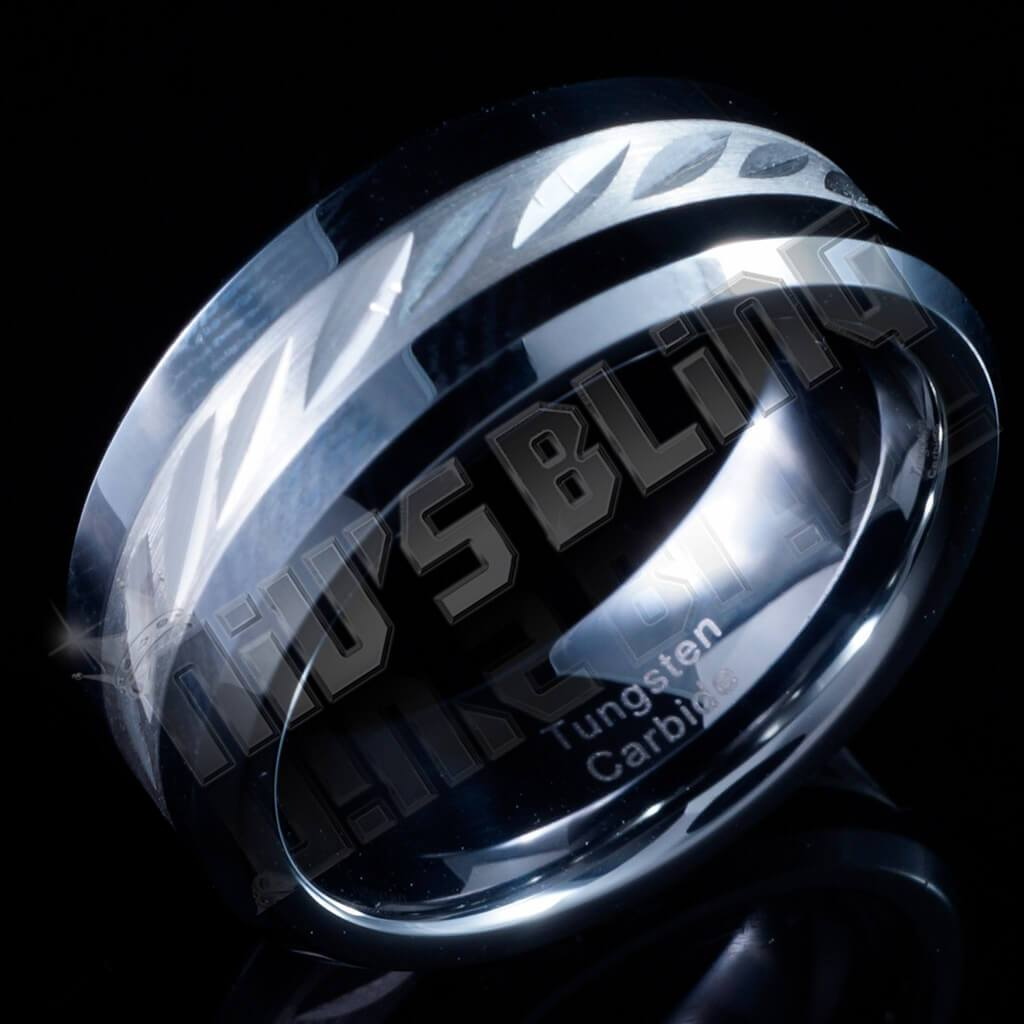 Affordable Sterling Silver Inlay Tungsten Carbide Ring 8MM - Side View