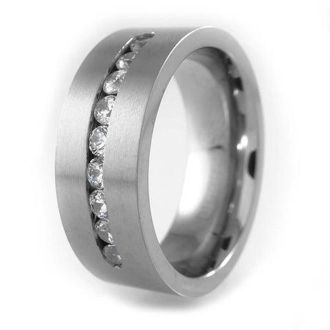 Affordable Titanium 9 CZ Stone Ring - White Background