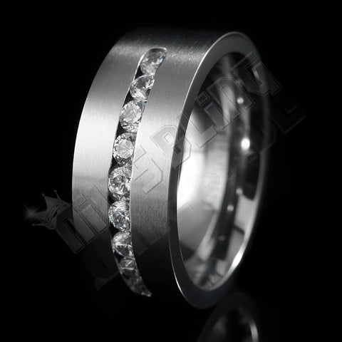 Affordable Titanium 9 CZ Stone Ring - Black Background