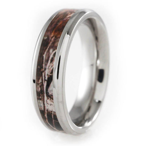 Affordable Titanium Realtree Camo Inlay Ring - White Background