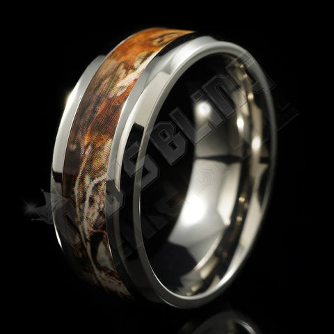 Affordable Titanium Realtree Camo Inlay Ring - Black Background