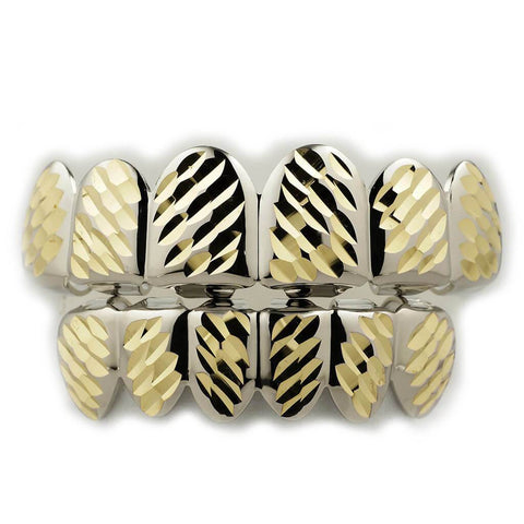 Affordable White Gold Diamond Cut 6 Tooth Hip Hop Grillz - White Background