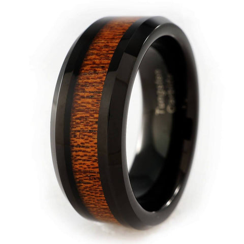 Affordable Wood Inlay Black Tungsten Carbide Ring 8MM - White Background