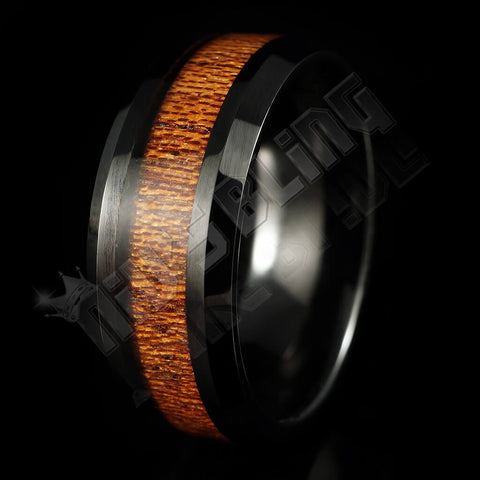 Affordable Wood Inlay Black Tungsten Carbide Ring 8MM - Black Background