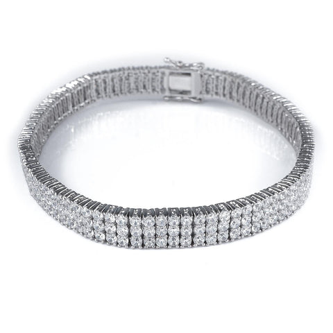 Affordable 18K White Gold 3 Row Tennis Hip Hop Bracelet - White Background