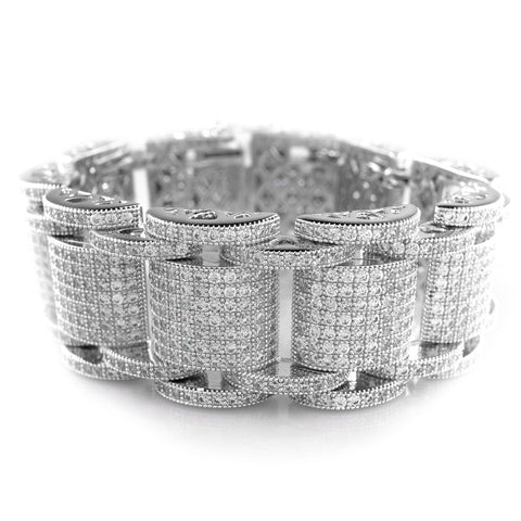 Affordable 18K White Gold Iced Out Hercules Hip Hop Bracelet - White Background