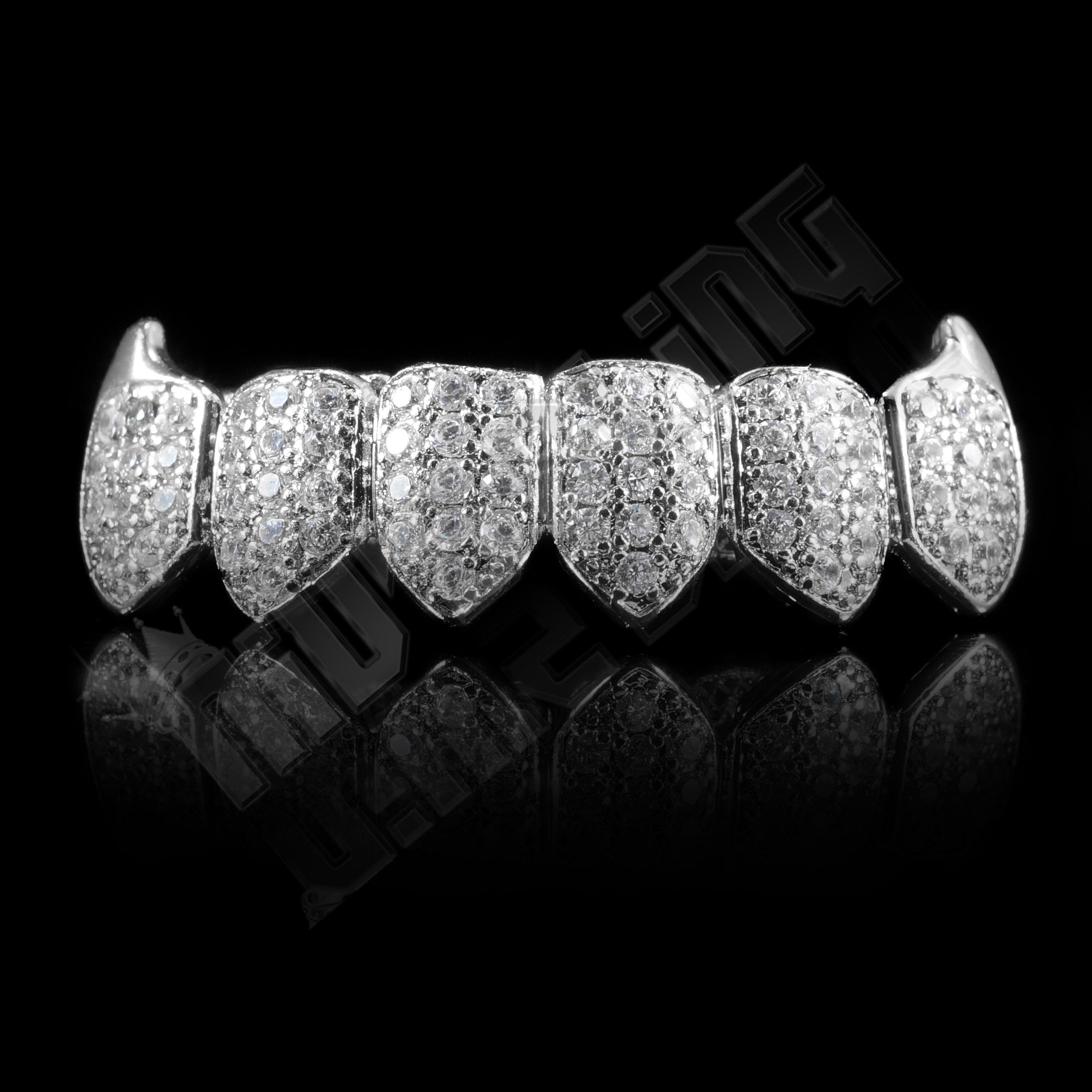 18K White Gold Plated Fang CZ Cluster Top Bottom Grillz