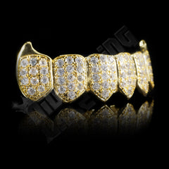 Affordable 18K Gold Plated Fang CZ Cluster Top Bottom Hip Hop Grillz - Bottom Side Grill