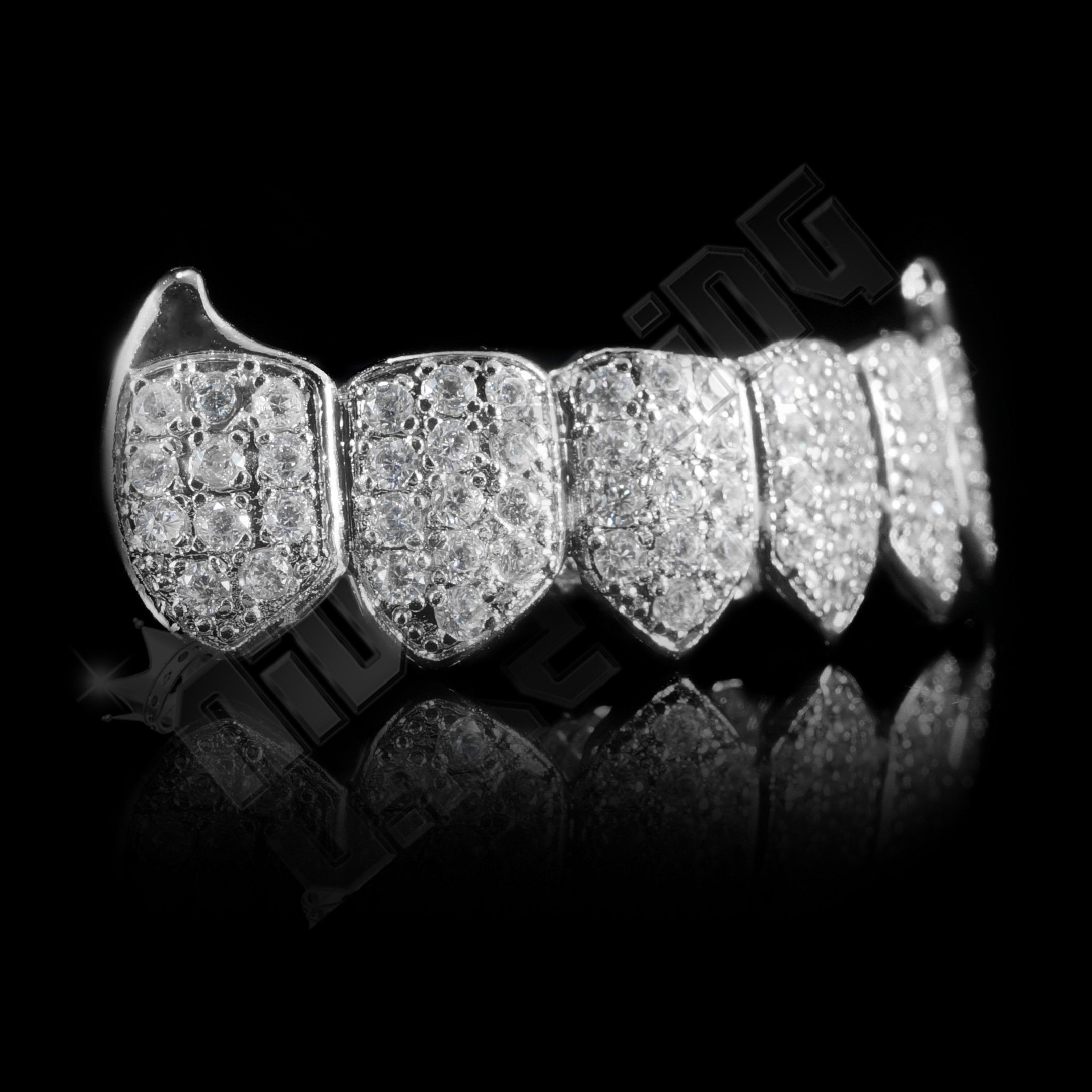 Affordable 18K WHite Gold Plated Fang CZ Cluster Top Bottom Hip Hop Grillz - Bottom Side Grill
