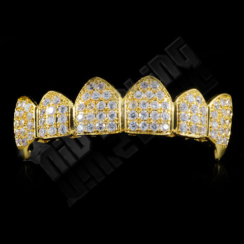 Affordable 18K Gold Plated Fang CZ Cluster Top Bottom Hip Hop Grillz - Top Grill