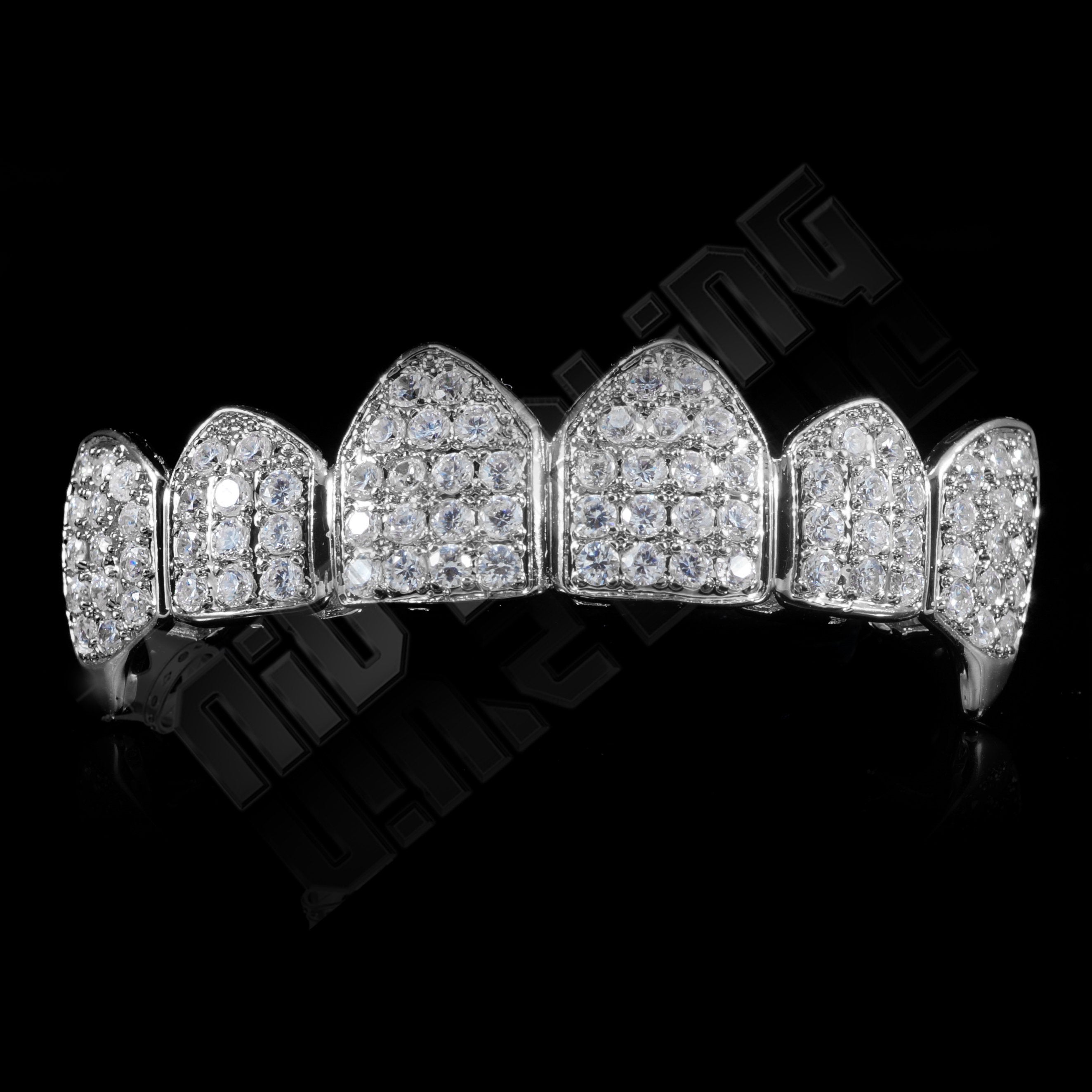 Affordable 18K White Gold Plated Fang CZ Cluster Top Bottom Hip Hop Grillz - Top Grill