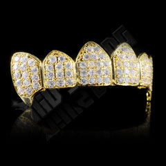 Affordable 18K Gold Plated Fang CZ Cluster Top Bottom Hip Hop Grillz - Top Side Gril
