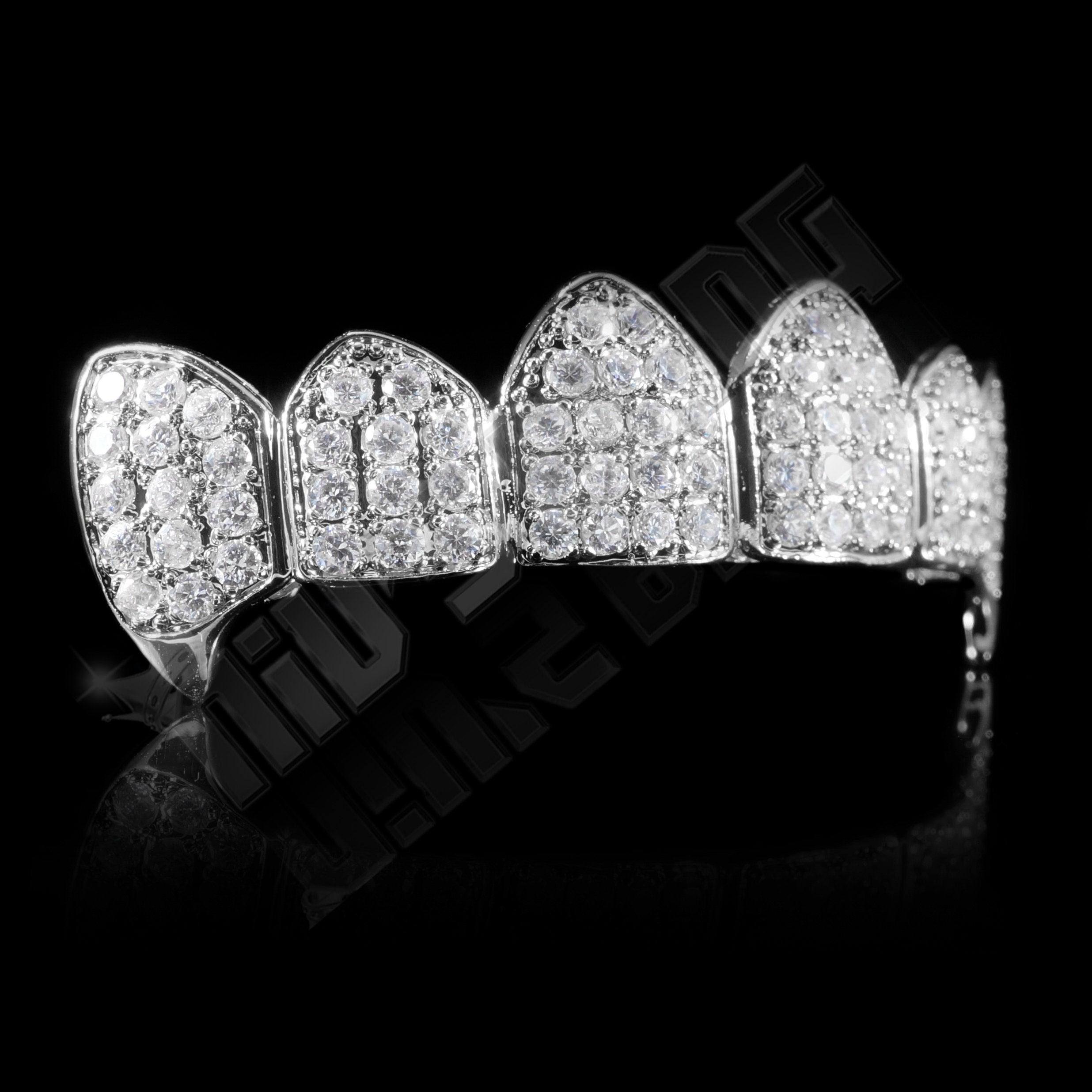 Affordable 18K White Gold Plated Fang CZ Cluster Top Bottom Hip Hop Grillz - Top Side Grill