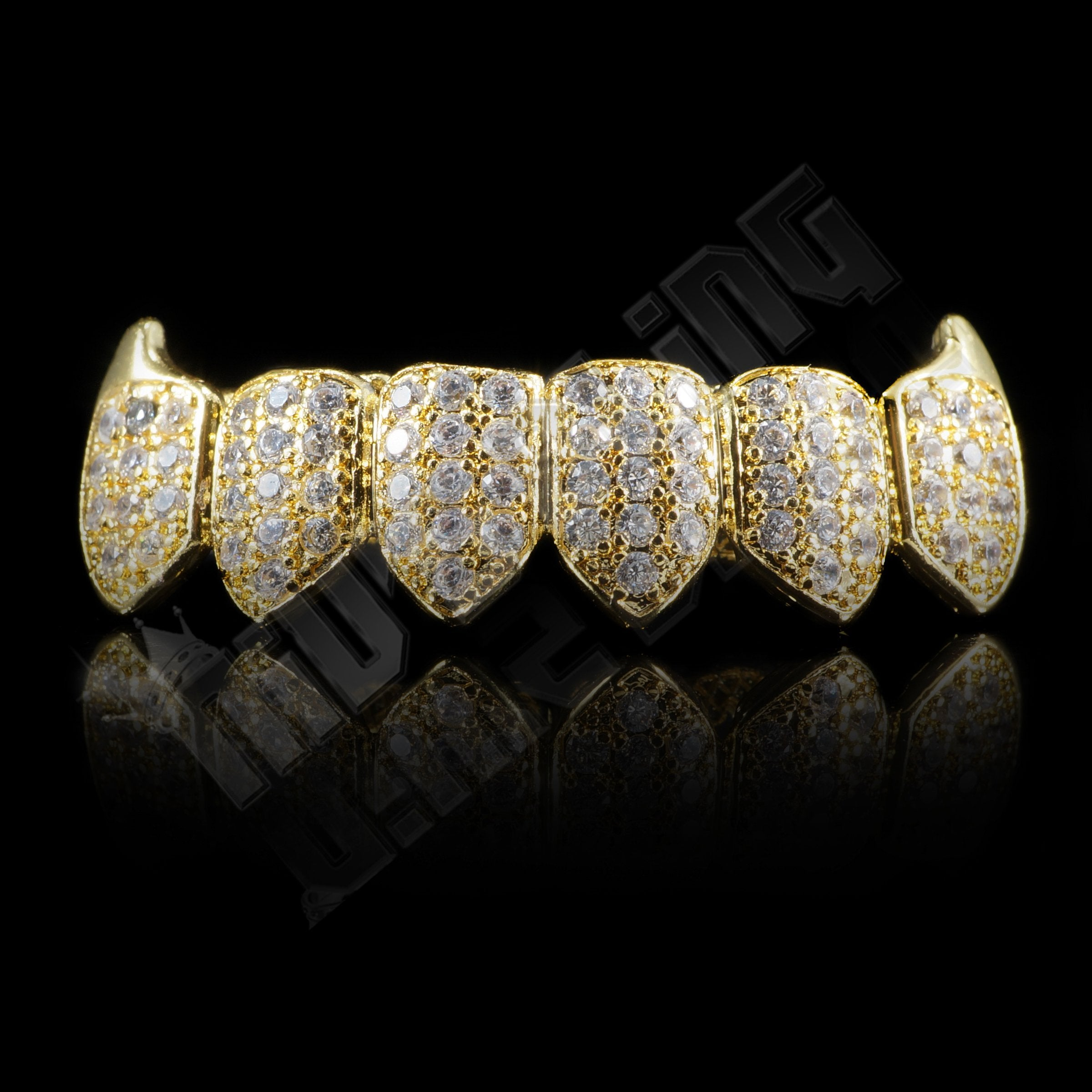 Affordable 18K Gold Plated Fang CZ Cluster Top Bottom Hip Hop Grillz - Bottom Grill