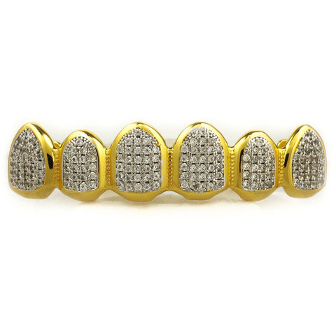18k Gold Micro Pave Rhodium Prong Grillz