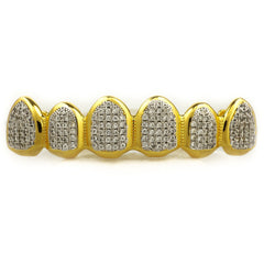 Affordable 18k Gold Micro Pave Rhodium Prong Hip Hop Grillz - Top Grill