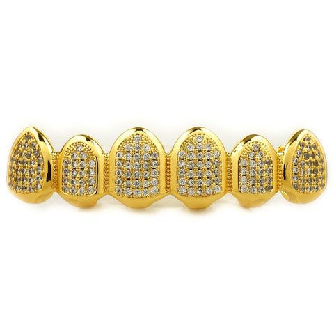 Affordable 18k Gold Micro Pave Top Bottom Hip Hop Grillz - Top Grill