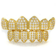 Affordable 18K Gold Plated CZ Cluster Top Bottom Hip Hop Grillz - White Background