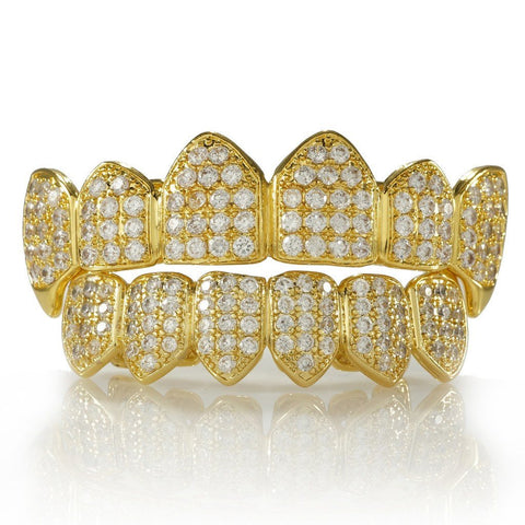 Grillz - 18K Gold Plated Fang CZ Cluster Top Bottom Grillz