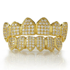 Affordable 18K Gold Plated Fang CZ Cluster Top Bottom Hip Hop Grillz - White Background