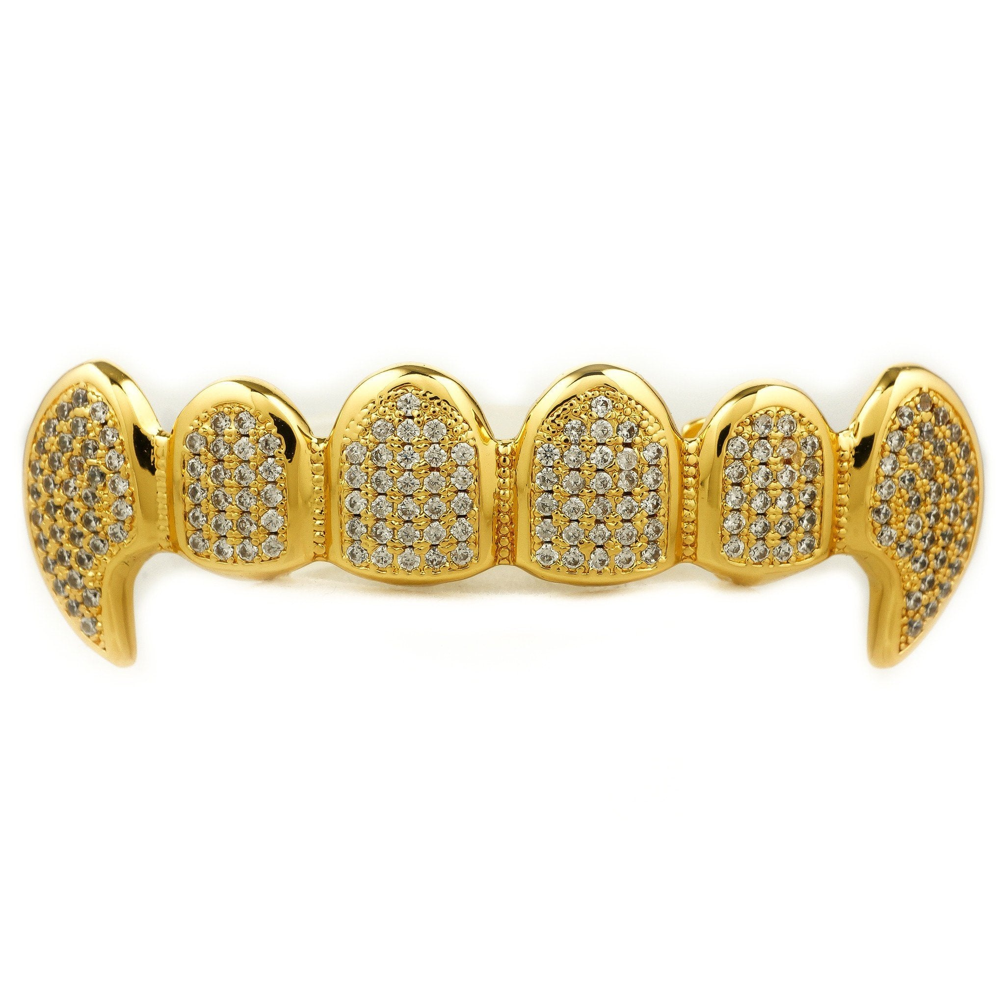 Affordable 18k Gold Vampire Dracula Fangs Hip Hop Grillz - Top Grill
