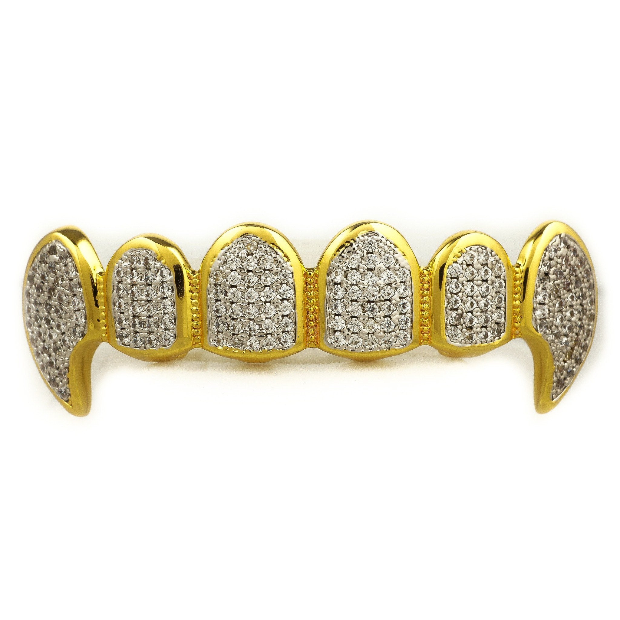 Affordable 18k Gold Vampire Dracula Rhodium Prongs Fangs Hip Hop Grillz Set - Top Grill