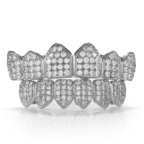 Affordable 18K White Gold Plated CZ Cluster Hip Hop Grillz Set - White Background