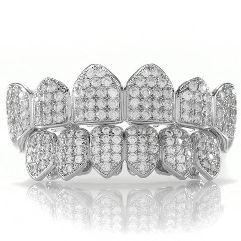 Grillz - 18K White Gold Plated Fang CZ Cluster Top Bottom Grillz