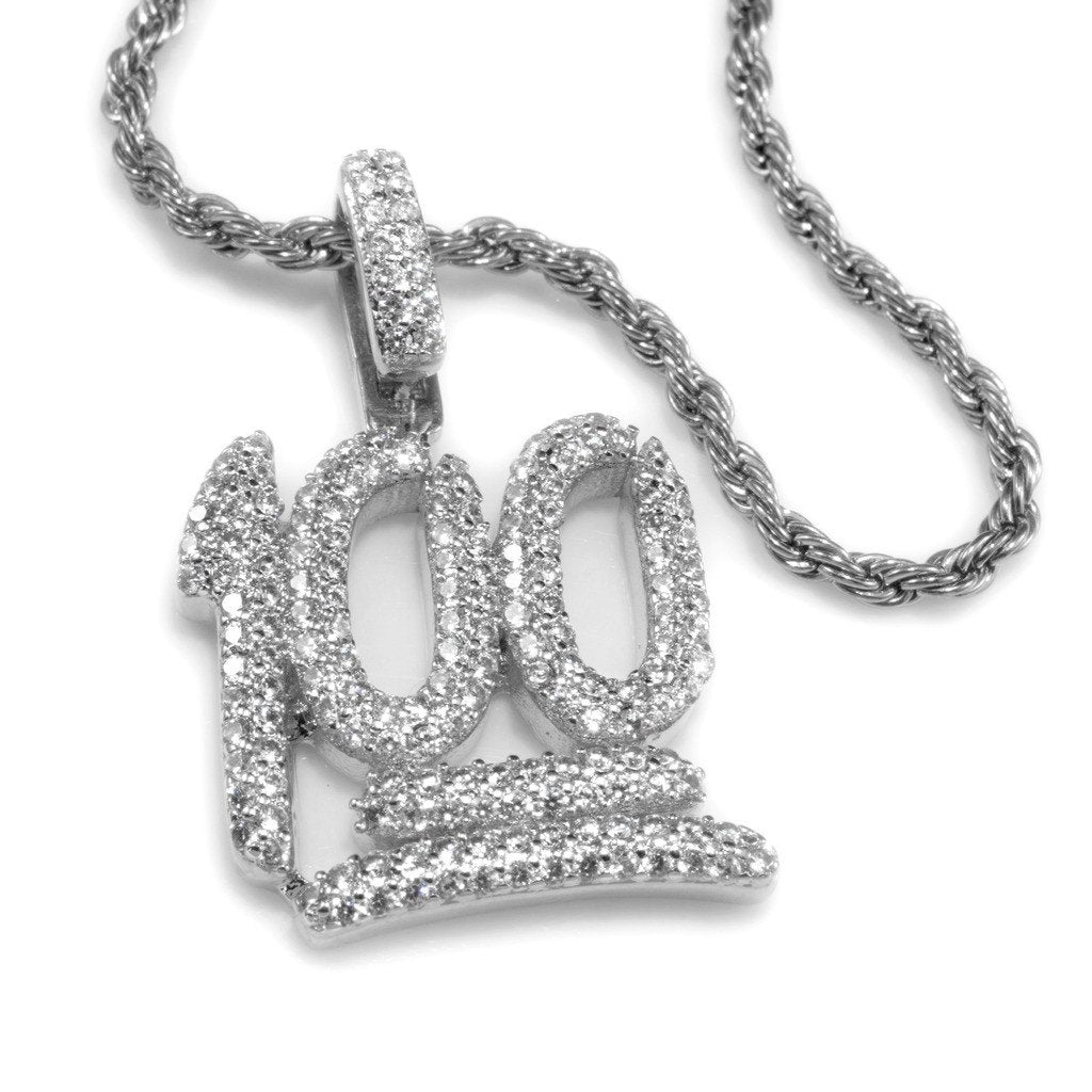 18k White Gold Iced 100 Emoji Pendant with Rope Chain