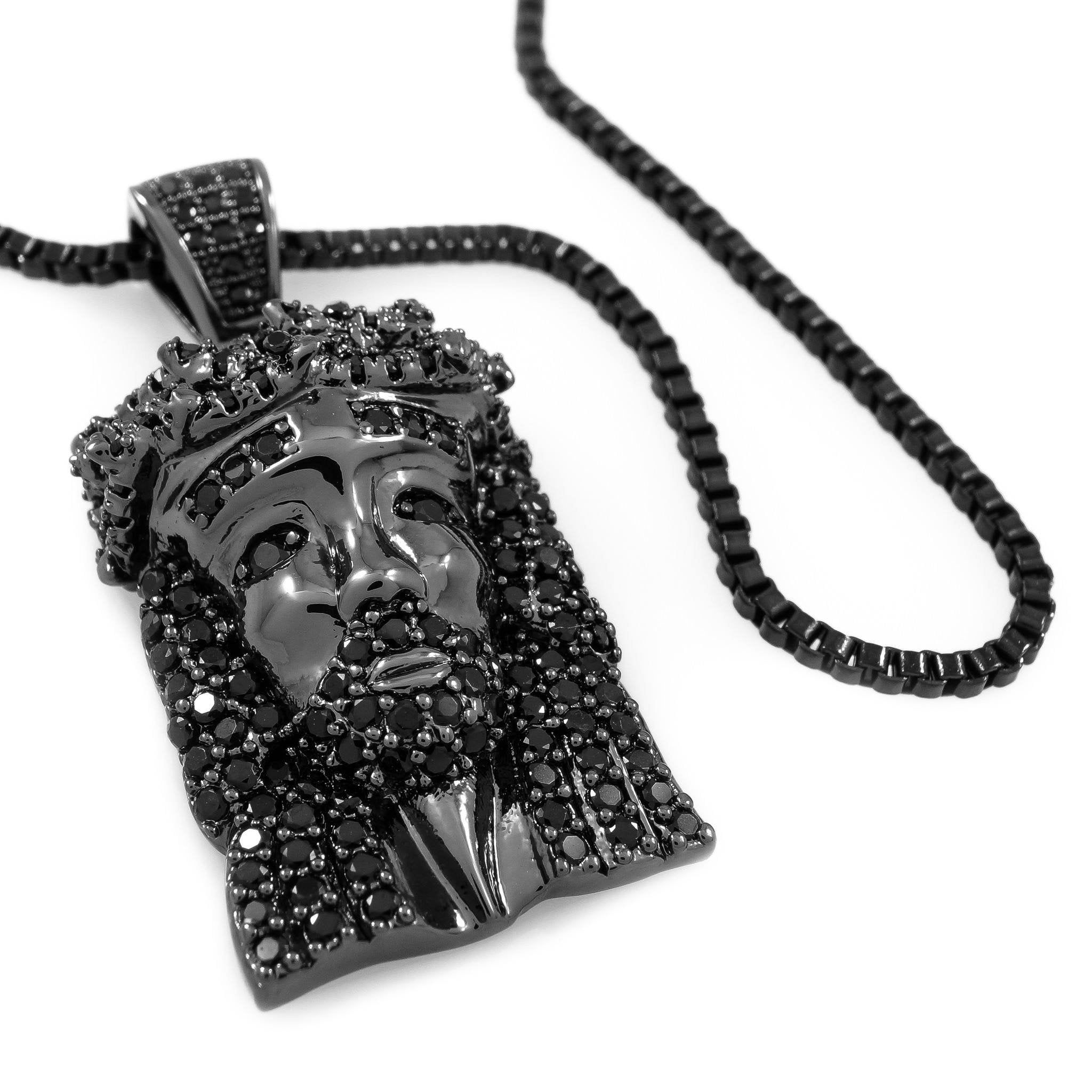 18k Black Gold Iced Mini Jesus Piece 1 with Box Chain