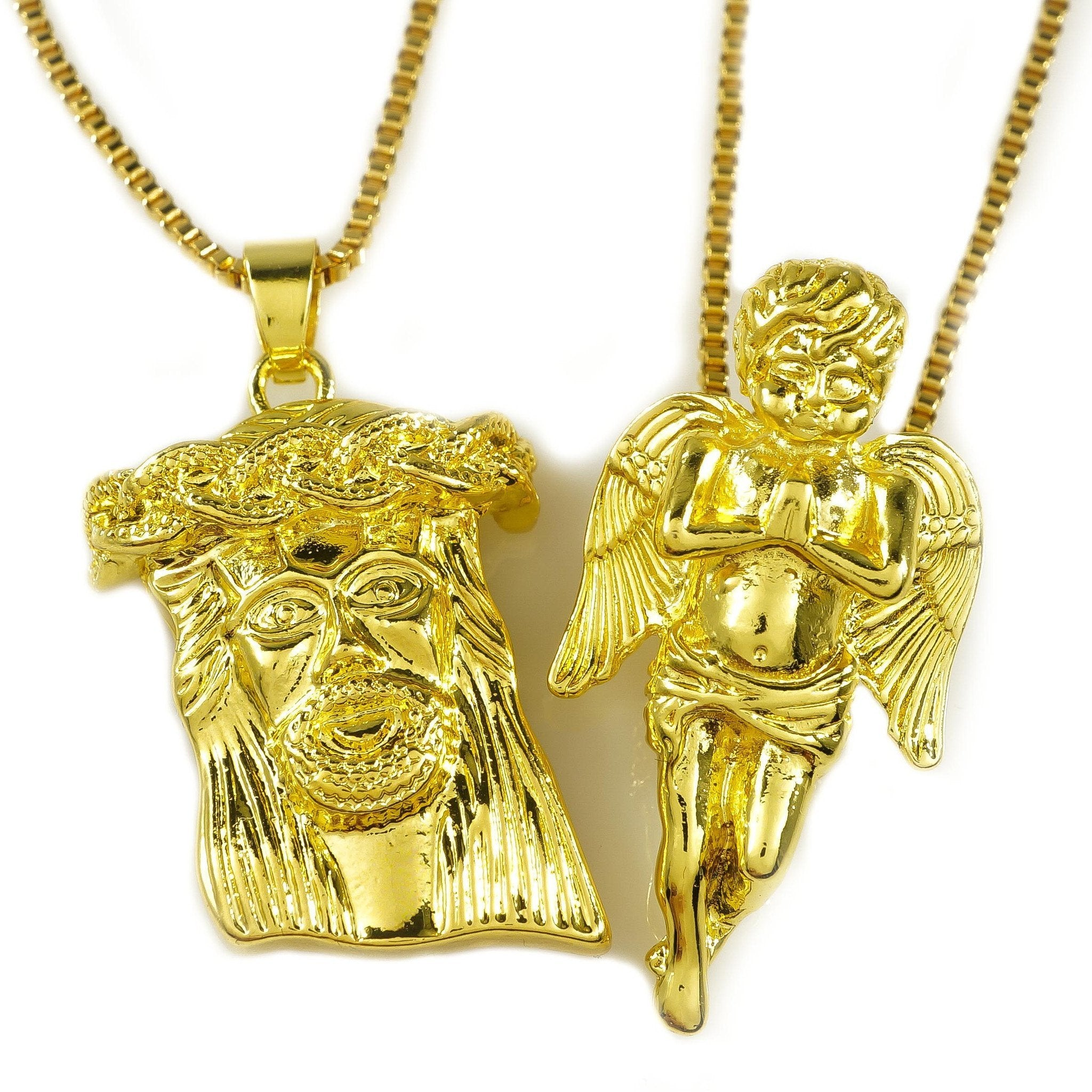Affordable 18K Gold Angel And Jesus Piece Combo With Box Hip Hop Chain