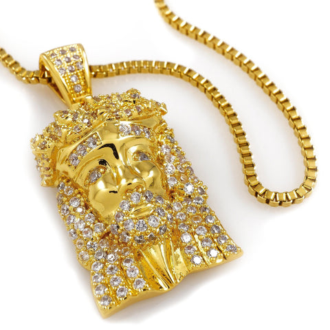 Affordable 18k Gold Iced Out Mini Jesus Piece 1 With Box Hip Hop Chain - White Background