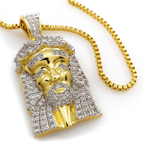 pendant chain jesus men out necklace micro mini iced mens rope gold piece s finish