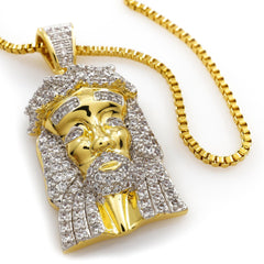 Affordable 18k Gold Mini Jesus Piece 1z With Box Hip Hop Chain - White Background