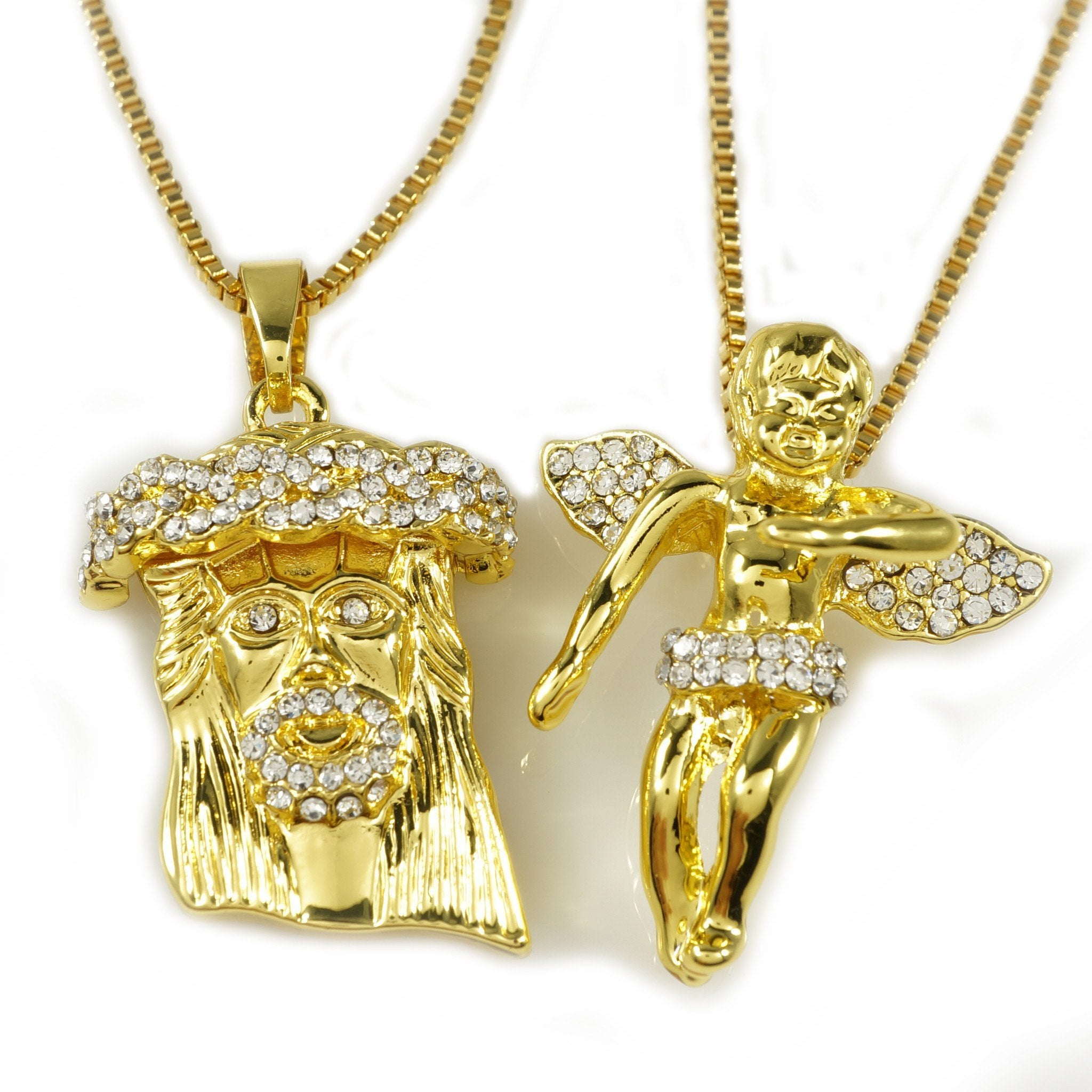 Affordable 18k Iced Out Gold Angel And Jesus Piece Combo With Box Hip Hop Chain - White Background