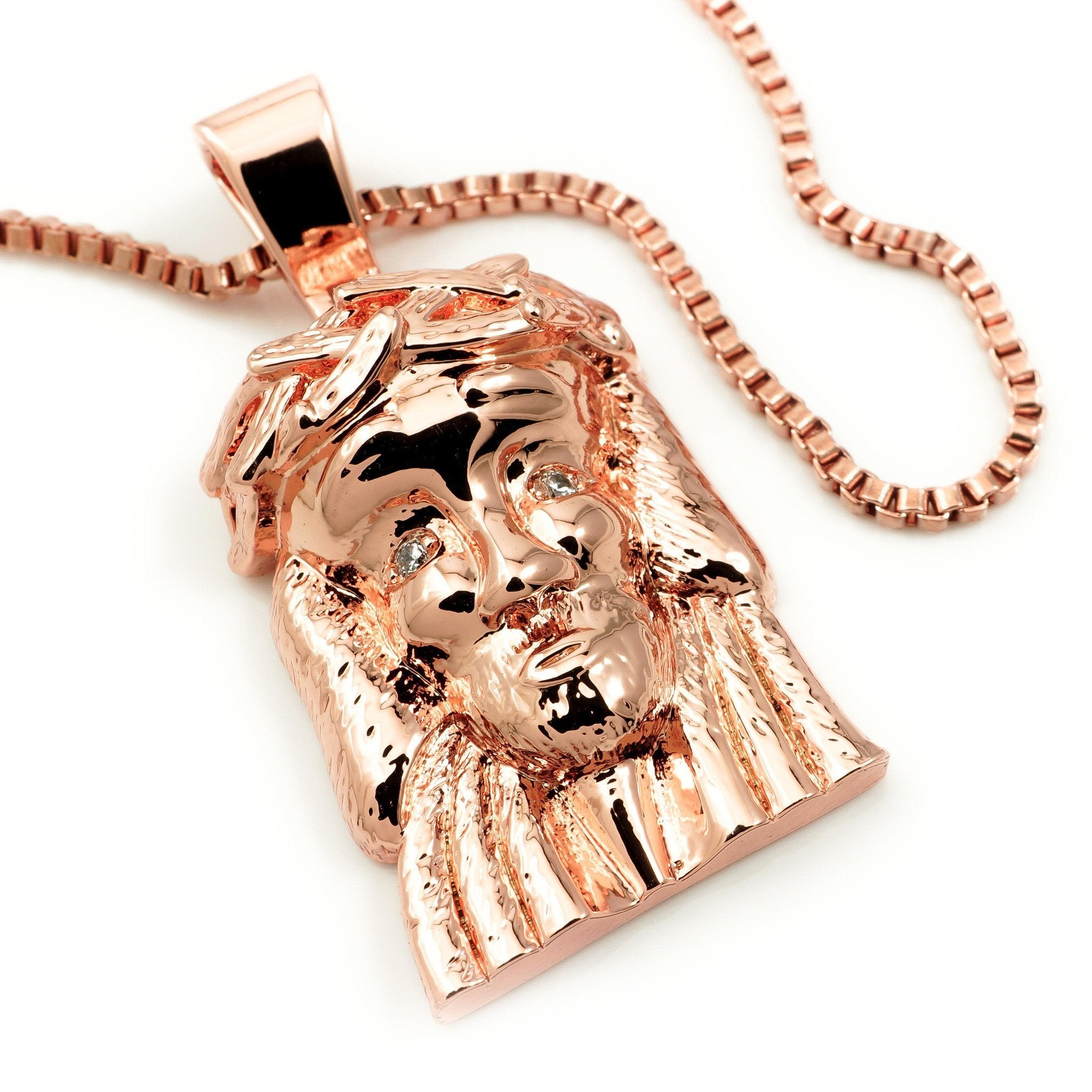 18k rose gold jesus piece 6 with box chain nivs bling 18k rose gold jesus piece 6 with box chain aloadofball Image collections