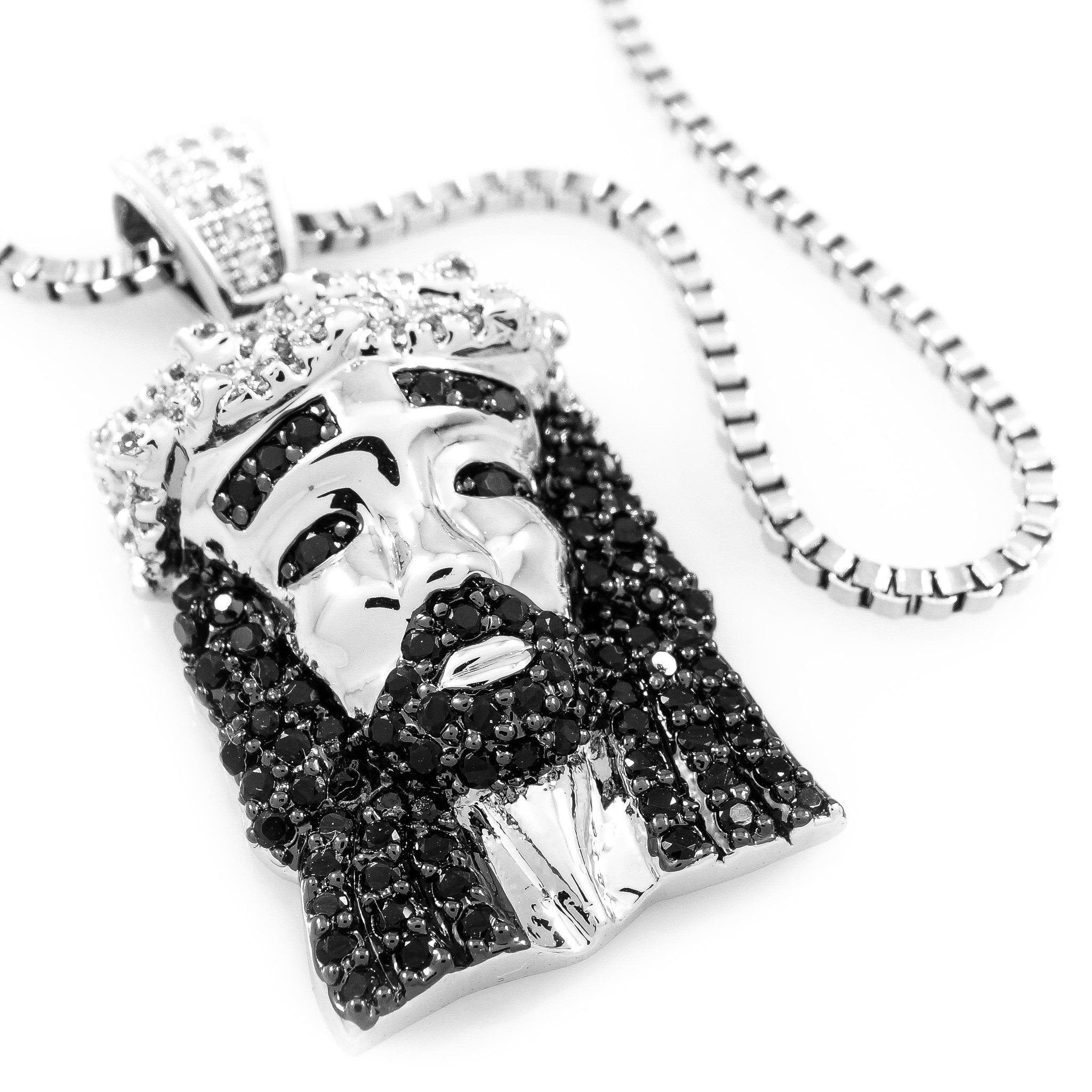 18k White Gold/Black CZ Iced Out Mini Jesus Piece 1 with Box Chain