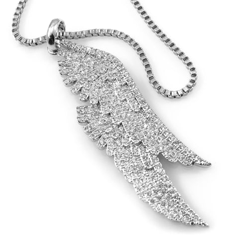 18K White Gold Parallel Angel Wing Pendant With Box Chain