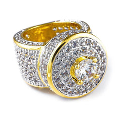 Affordable 18K Rhodium Gold Iced Out CZ Micro Pavé Hip Hop Ring - White Background