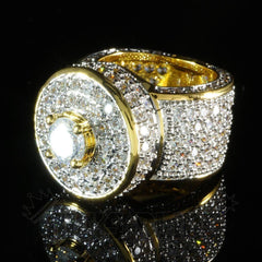 Affordable 18K Rhodium Gold Iced Out CZ Micro Pavé Hip Hop Ring - Black Background