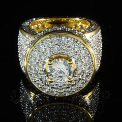 Affordable 18K Rhodium Gold Iced Out CZ Micro Pavé Hip Hop Ring - Front View