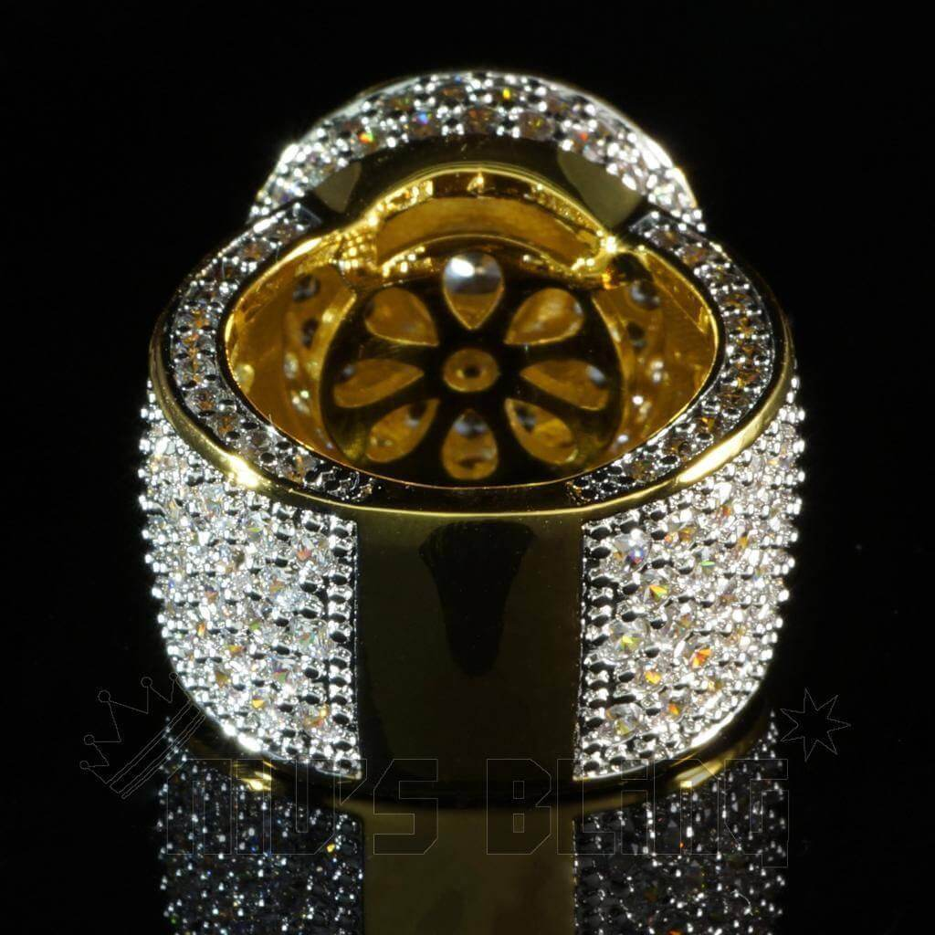 Affordable 18K Rhodium Gold Iced Out CZ Micro Pavé Hip Hop Ring - Back View