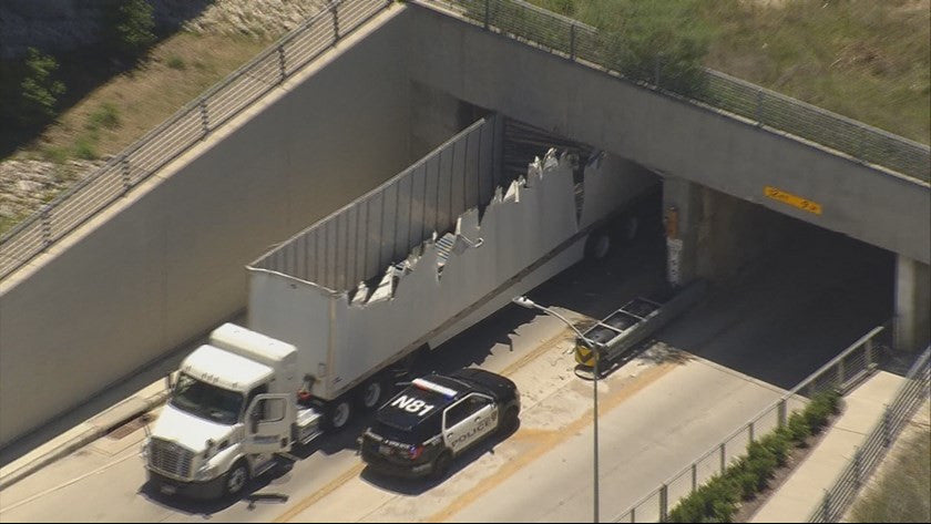Photos: Top of Truck Ripped off after Hitting Bridge near Downtown Houston