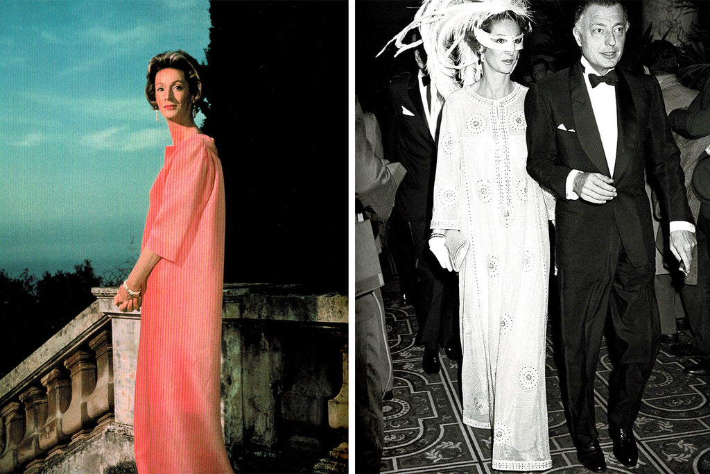 Left Photo: Marella in Balenciaga. Right photo: Marella and Gianni at Truman Capote's Black and White Ball.